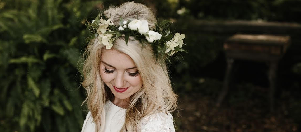 Smiling blonde haired bride